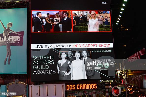 General view of Emma Stone and Meryl Streep during TNT's 23rd Annual Screen Actors Guild Awards preshow viewing in Times Square on January 29 2017 in...
