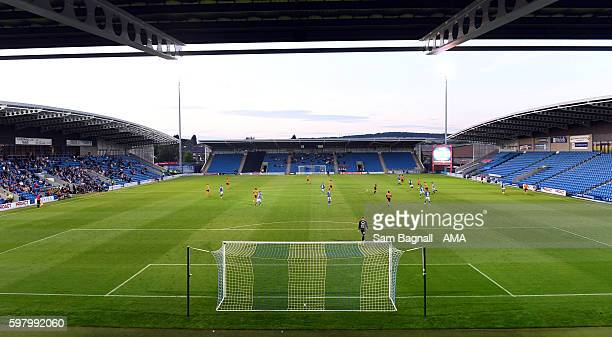 A general view of empty seats during the checkatradecom Trophy match between Chesterfield and Wolverhampton Wanderers at Proact Stadium on August 30...