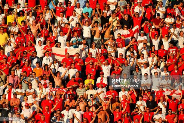 A general view of England fans during the 2010 FIFA World Cup South Africa Round of Sixteen match between Germany and England at Free State Stadium...