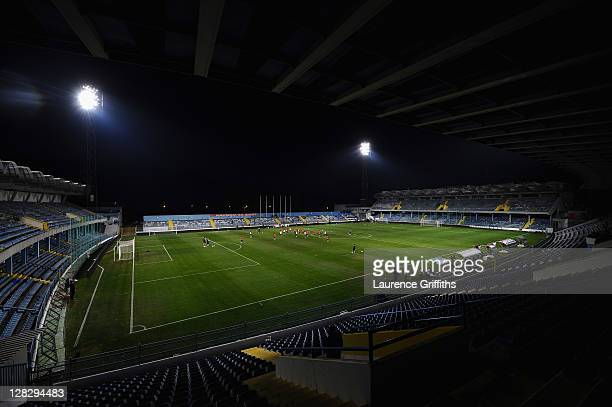 A general view of England training in the City Stadium on October 6 2011 in Podgorica Montenegro