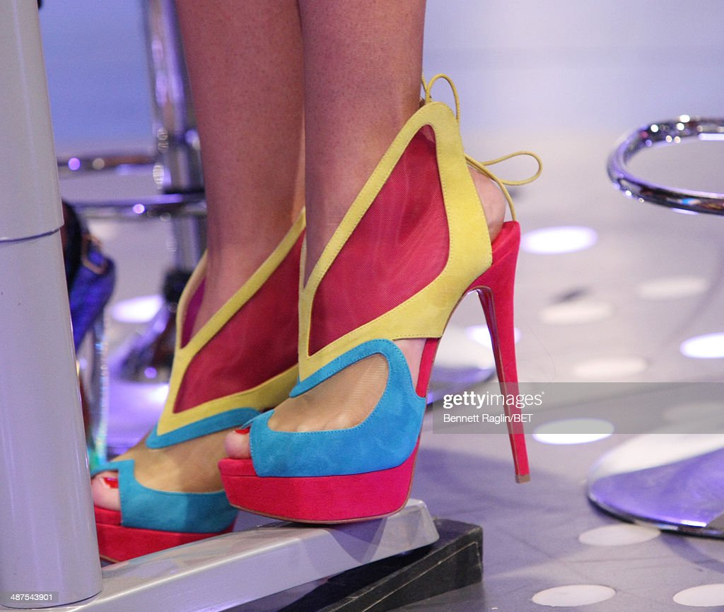 A general view of Erica Mena's shoes during 106 & Park at BET studio on April 30, 2014 in New York City.
