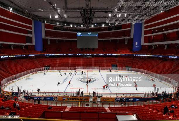 A general view of Ericsson Globe as the Ottawa Senators practice on November 7 2017 ahead of the 2017 SAP NHL Global Series in Stockholm Sweden