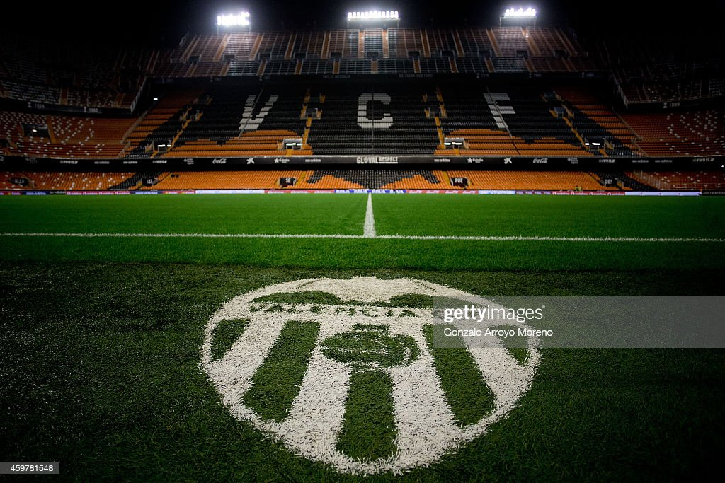 General view of Estadi de Mestalla pitch before the La Liga match between Valencia CF and FC Barcelona on November 30 2014 in Valencia Spain