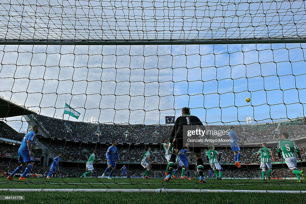 General view of Estadio Benito Villamarin grandstands from the goal as Gareth Bale of Real Madrid CF saves on a header during the La Liga match...