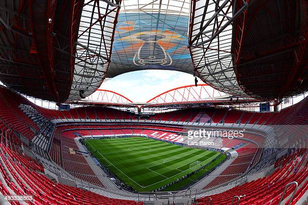 A general view of Estadio da Luz ahead of the UEFA Champions League Final against Real Madrid at Estadio da Luz on May 23 2014 in Lisbon Portugal