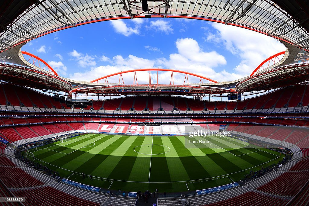 A general view of Estadio da Luz ahead of the UEFA Champions League Final against Real Madrid at Estadio da Luz on May 23 2014 in Lisbon Portugal