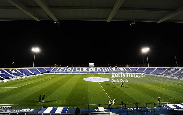 A general view of Estadio Municipal de Butarque ahead of the La Liga match between CD Leganes and CA Osasuna at Estadio Municipal de Butarque on...