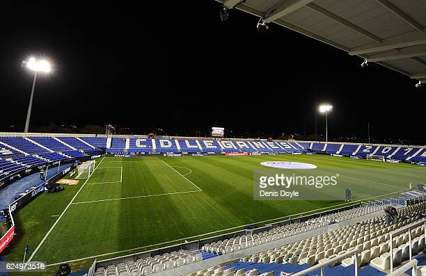 A general view of Estadio Municipal de Butarque ahead of the La Liga match between CD Leganes and CA Osasuna at Estadio Municipal de Butarque on...
