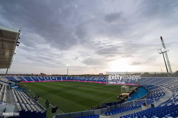 A general view of Estadio Municipal de Butarque before the La Liga match between Leganes and Atletico Madrid at Estadio Municipal de Butarque on...