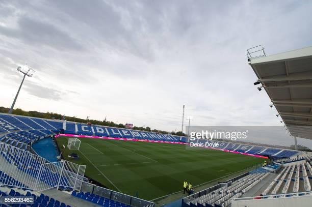 A general view of Estadio Municipal de Butarque during the La Liga match between Leganes and Atletico Madrid at Estadio Municipal de Butarque on...