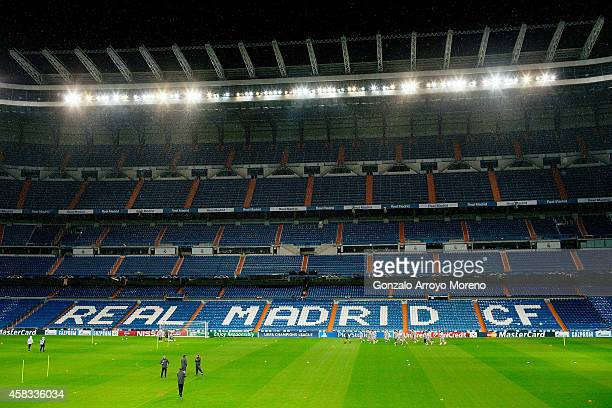 General view of Estadio Santiago Bernabeu as Liverpol FC team exercises during the training session ahead of the UEFA Champions League Group B match...
