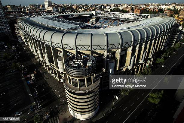 General view of Estadio Santiago Bernabeu before the La Liga match beteen Real Madrid CF and Real Betis Balompie on August 29 2015 in Madrid Spain