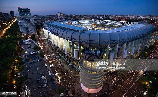 General view of Estadio Santiago Bernabeu before the La Liga match between Real Madrid CF and Real Betis Balompie on August 29 2015 in Madrid Spain