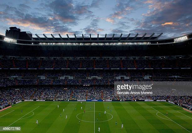 General view of Estadio Santiago Bernabeu during the La Liga match between Real Madrid CF and Elche CF on September 23 2014 in Madrid Spain