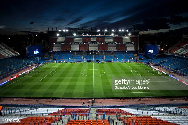 General view of Estadio Vicente Calderon at sunset before the UEFA Champions League Group C match between Club Atletico de Madrid and Galatasaray AS...