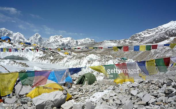 A general view of Everest Base Camp in Nepal on May 17 2009 Bad weather conditions forced three Nepalese Sherpa brothers to give up their plans to...