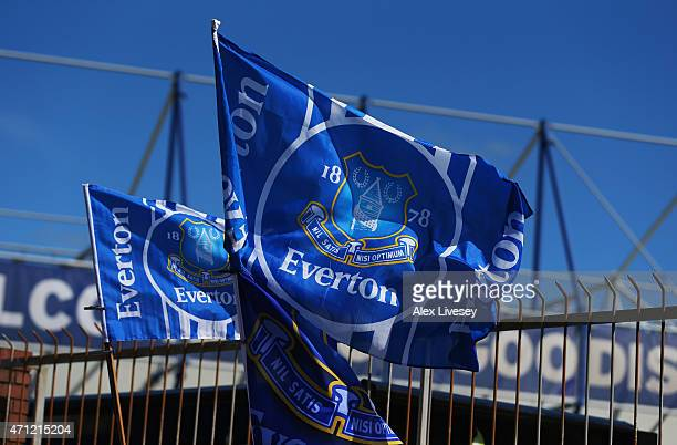 A general view of Everton flags outside the stadium prior to the Barclays Premier League match between Everton and Manchester United at Goodison Park...
