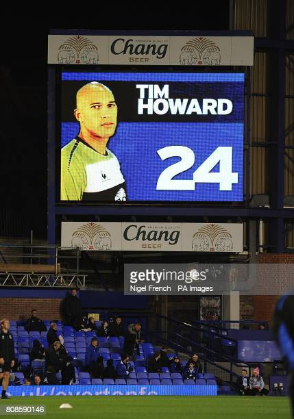 General view of Everton goalkeeper Tim Howard on the jumbotron big screen at Goodison Park