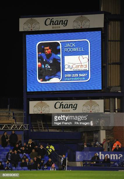 General view of Everton's Jack Rodwell on the jumbotron big screen at Goodison Park