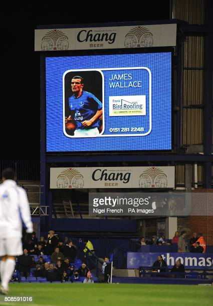 General view of Everton's James Wallace on the jumbotron big screen at Goodison Park