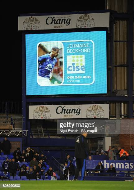 General view of Everton's Jermaine Beckford on the jumbotron big screen at Goodison Park