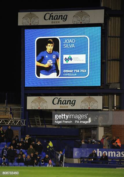 General view of Everton's Joao Silva on the jumbotron big screen at Goodison Park