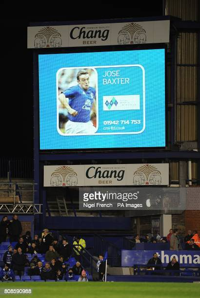 General view of Everton's Jose Baxter on the jumbotron big screen at Goodison Park