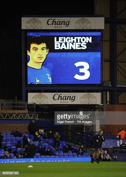 General view of Everton's Leighton Baines on the jumbotron big screen at Goodison Park