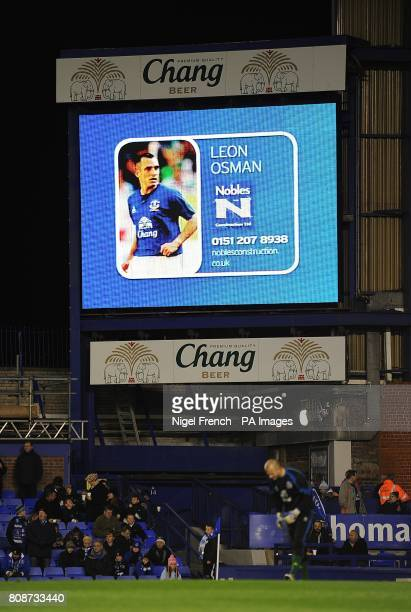 General view of Everton's Leon Osman on the jumbotron big screen at Goodison Park