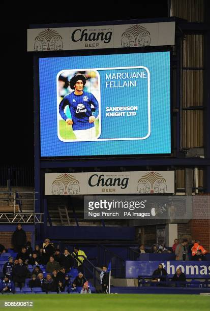General view of Everton's Marouane Fellaini on the jumbotron big screen at Goodison Park
