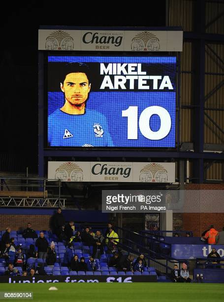 General view of Everton's Mikel Arteta on the jumbotron big screen at Goodison Park