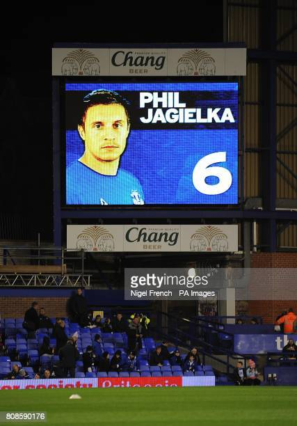 General view of Everton's Phil Jagielka on the jumbotron big screen at Goodison Park