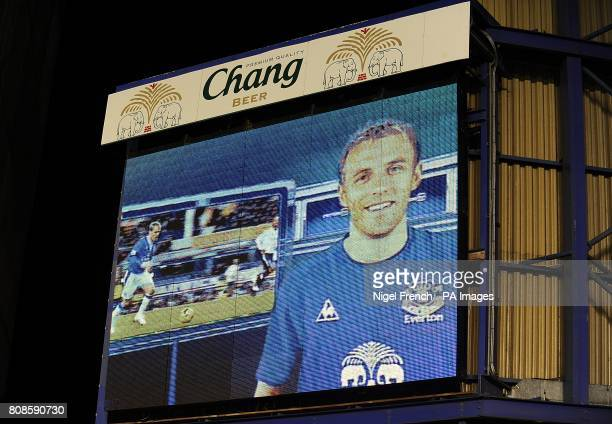 General view of Everton's Phil Neville on the jumbotron big screen at Goodison Park