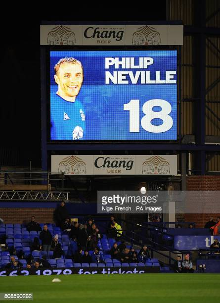 General view of Everton's Philip Neville on the jumbotron big screen at Goodison Park