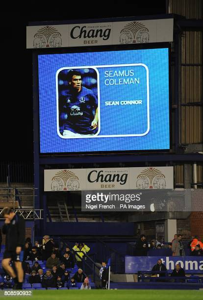 General view of Everton's Seamus Coleman on the jumbotron big screen at Goodison Park
