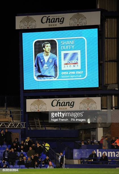 General view of Everton's Shane Duffy on the jumbotron big screen at Goodison Park