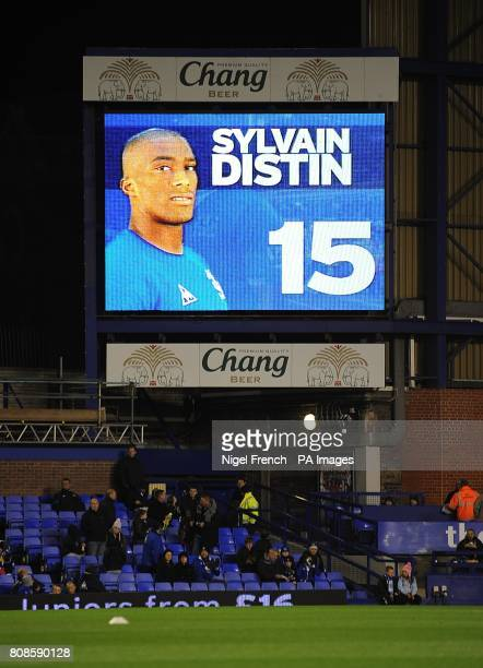 General view of Everton's Sylvain Distin on the jumbotron big screen at Goodison Park
