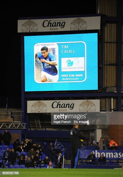 General view of Everton's Tim Cahill on the jumbotron big screen at Goodison Park