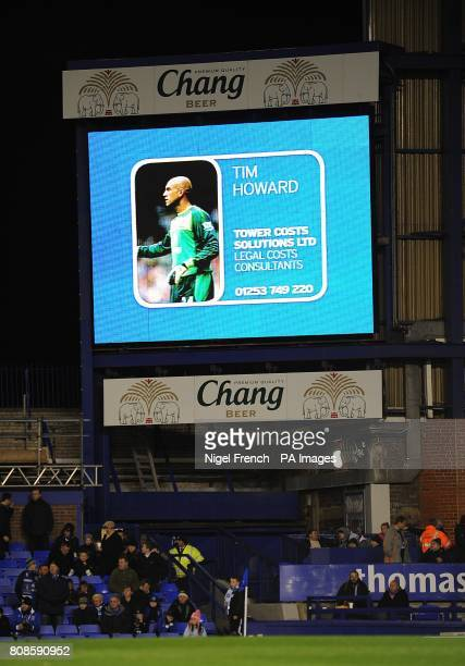 General view of Everton's Tim Howard on the jumbotron big screen at Goodison Park