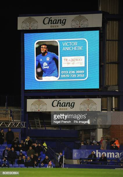 General view of Everton's Victor Anichebe on the jumbotron big screen at Goodison Park