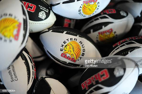 A general view of Exeter Chiefs merchandise on sale ahead of the Aviva Premiership match between Exeter Chiefs and Saracens at Sandy Park on November...