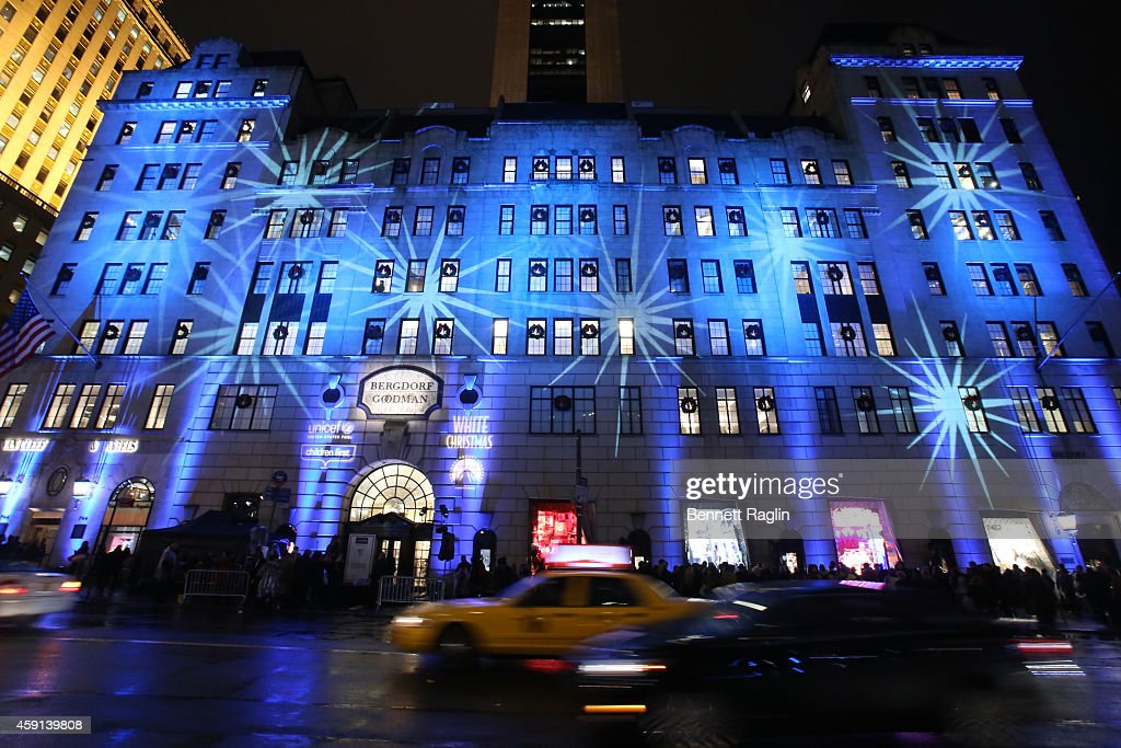 A general view of exterior of Bergdorf Goodman store during 2014 Bergdorf Goodman Holiday Window Unveiling UNICEF Snowflake Lighting at Bergdorf...