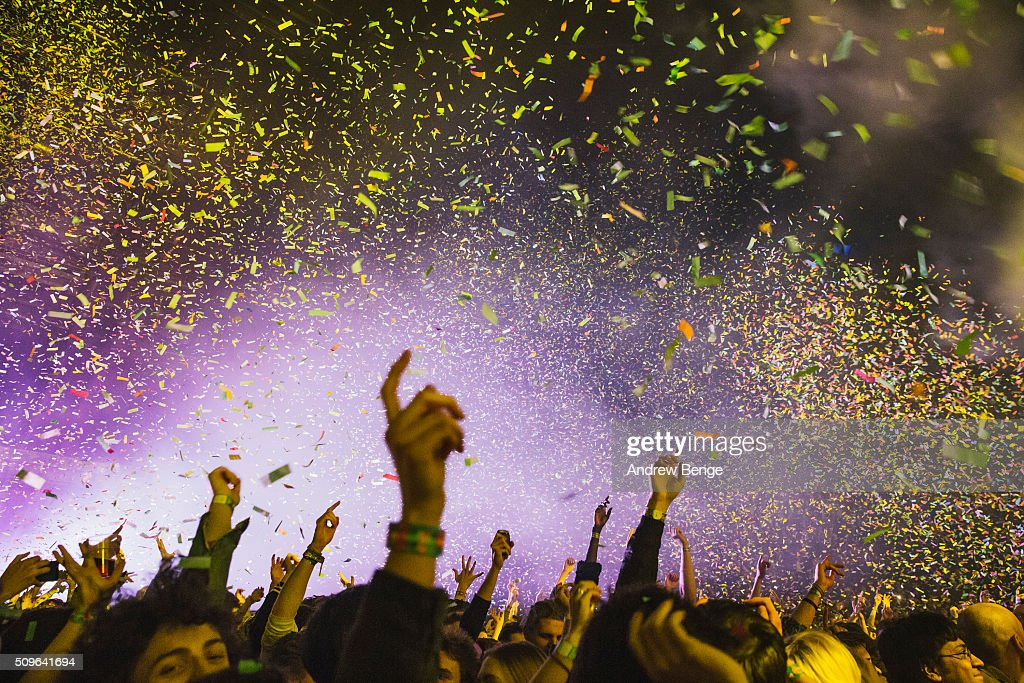 General view of fans and confetti while Tame Impala perform on stage at Manchester Arena on February 11, 2016 in Manchester, England.