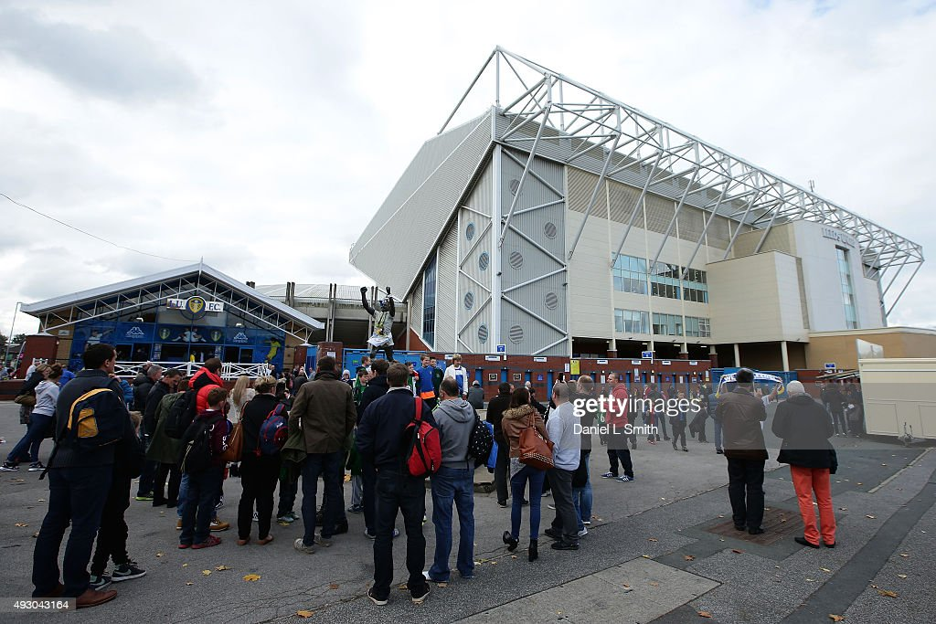 A general view of fans arriving at Elland Road Stadium prior to the Sky Bet Championship match between Leeds United and Brighton Hove Albion at...