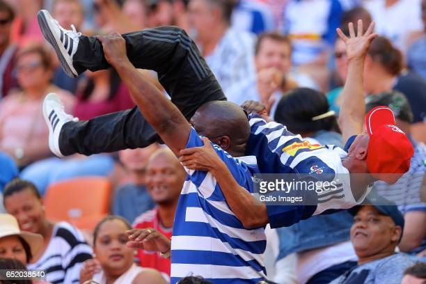 general view of fans as DHL Stormers score their first try during the Super Rugby match between Southern Kings and DHL Stormers at Nelson Mandela Bay...