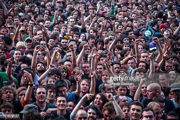 General view of fans at the free concert of Rage Against The Machine in Finsbury Park on June 6 2010 in London England