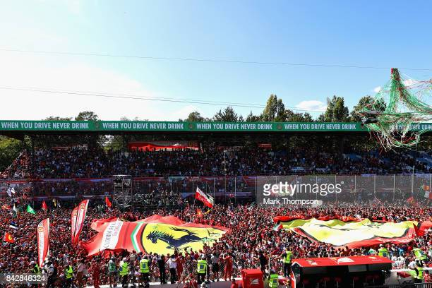 A general view of fans at the podium celebration after the Formula One Grand Prix of Italy at Autodromo di Monza on September 3 2017 in Monza Italy