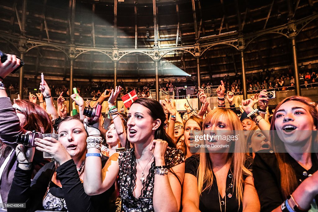 General view of fans attending the concert of Lawson at The Roundhouse on October 12, 2013 in London, England.