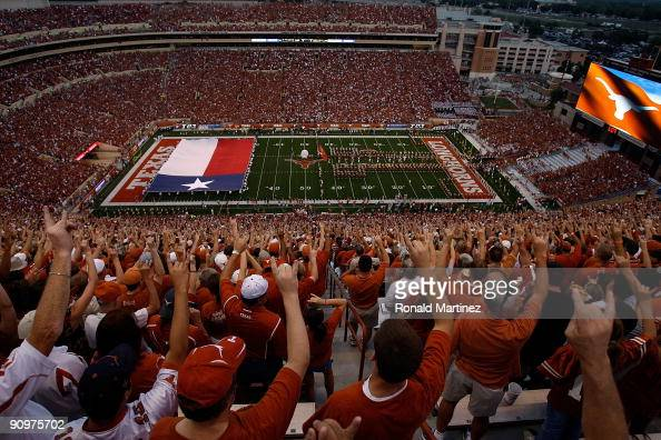 A general view of fans before a game between the Texas Tech Red Raiders and the Texas Longhorns at Darrell K RoyalTexas Memorial Stadium on September...