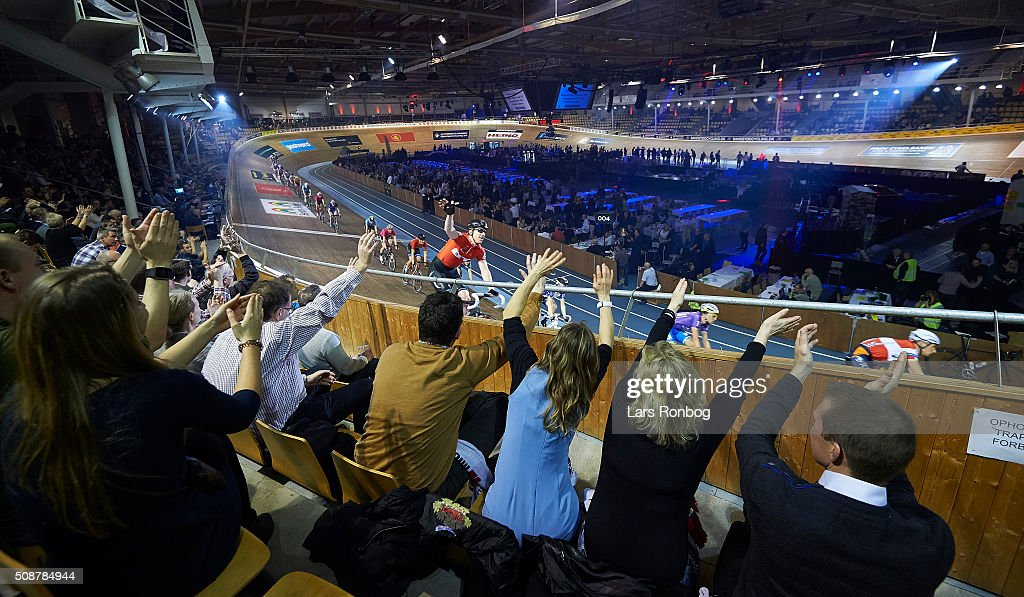 General view of fans celebrating with rider Daniel Holloway during day three at the Copenhagen Six Days Race Cycling at Ballerup Super Arena on February 6, 2016 in Ballerup, Denmark.